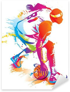Pixerstick Sticker Basketbalspeler. Vector illustratie.