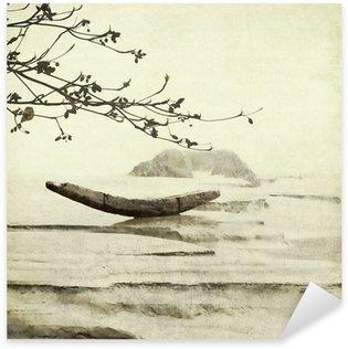 Sticker Pixerstick Bateau de pêche et d'amande Contexte Arbre d'art