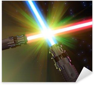 Battle with light sabers Sticker - Pixerstick