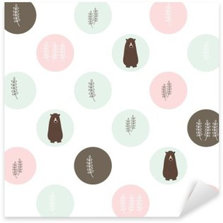 Sticker - Pixerstick Bear and forest seamless background. vector design illustration.