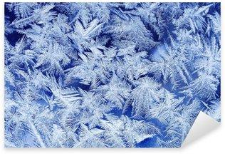 Sticker Pixerstick Beau motif givré de fête avec des flocons de neige blancs sur un fond bleu sur verre