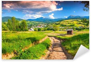 Sticker Pixerstick Beau paysage d'été dans le village de montagne