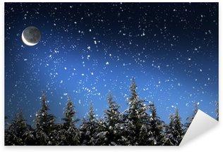 Sticker Pixerstick Beau paysage d'hiver avec la neige a couvert des arbres dans la nuit