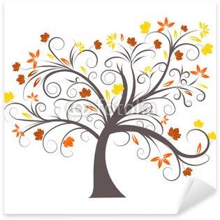 beautiful abstract vector autumn tree design Sticker - Pixerstick