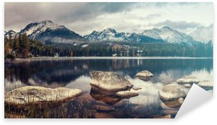beautiful autumn morning over a mountain lake Strbske Pleso,retro colors, vintage Sticker - Pixerstick