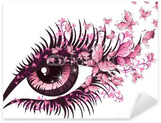 Beautiful female eye with butterflies Sticker - Pixerstick