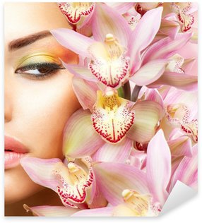 Sticker - Pixerstick Beautiful Girl With Orchid Flowers. Beauty Model Woman Face