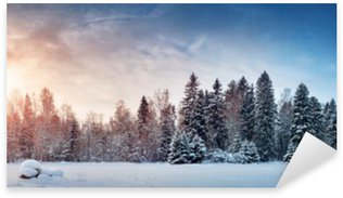 Sticker - Pixerstick Beautiful tree in winter landscape in late evening in snowfall