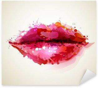 Beautiful womans lips formed by abstract blots Sticker - Pixerstick