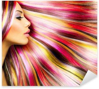Pixerstick Sticker Beauty Fashion Model Meisje met kleurrijke Gekleurd Haar