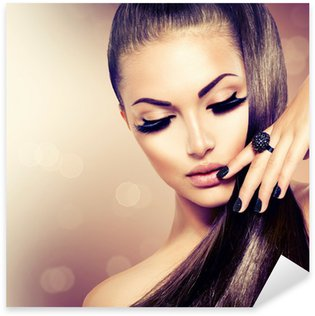 Pixerstick Sticker Beauty Fashion Model meisje met lange gezond bruin haar