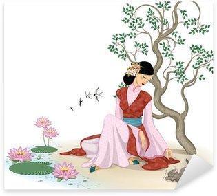 Sticker Pixerstick Belle femme chinoise avec chaton