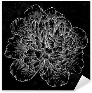 Sticker Pixerstick Belle fleur de pivoine noir et blanc isolé sur fond. lignes de contour et coups dessinée à la main.