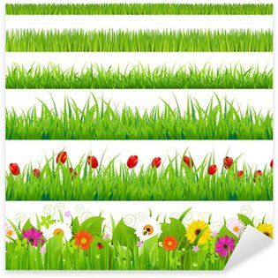 Sticker Pixerstick Big Grass And Set Flower