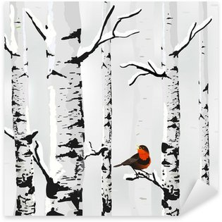 Sticker - Pixerstick Birch in snow, winter card in vector
