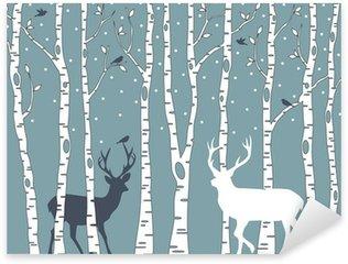 Sticker - Pixerstick birch trees with deer, vector background