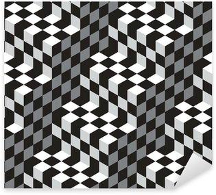 Pixerstick Sticker Black and White Cubes Optische illustion Vector Naadloos Patroon