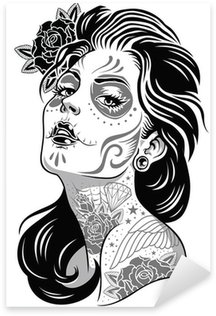 Black and White Day of Dead Girl Vector Illustration Sticker - Pixerstick