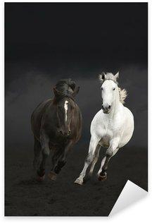Sticker - Pixerstick Black and white horses running in the dark