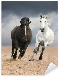 Sticker - Pixerstick Black and white horses running wild