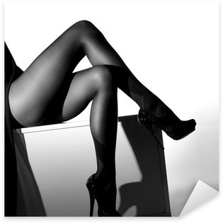 Black and white photo of sexy female legs in stockings Sticker - Pixerstick