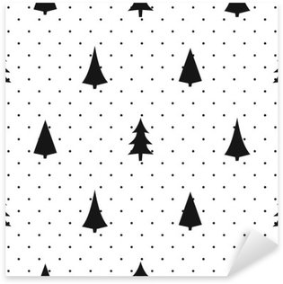 Black and white simple seamless Christmas pattern - varied Xmas trees. Happy New Year polka dots background. Vector design for textile, wallpaper, fabric, wrapping paper. Sticker - Pixerstick