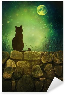 Sticker - Pixerstick Black cat on rock wall Halloween night