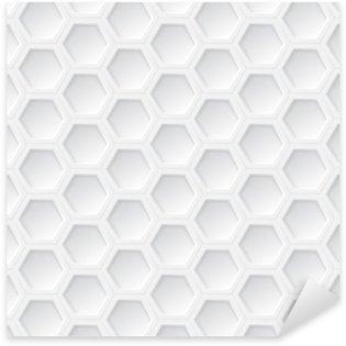 Sticker Pixerstick Blanc hexagonale 3d seamless