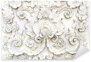 Sticker Pixerstick Blanc mur de stuc d'art thaï, temple thaïlandais