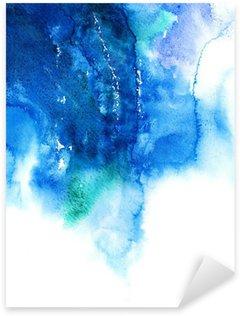 Pixerstick Sticker Blauwe aquarel abstract hand geschilderde achtergrond