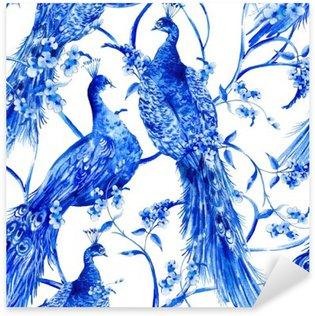 Pixerstick Sticker Blauwe aquarel bloemen uitstekend naadloos patroon met pauwen