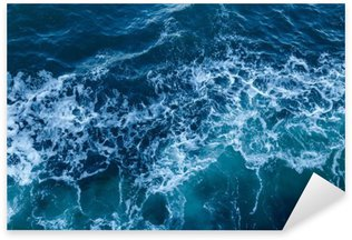 Pixerstick Sticker Blauwe zee textuur met golven en schuim