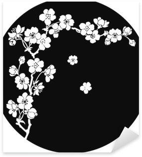 Pixerstick Sticker Bloeiende kers in inkt