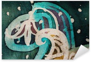 Pixerstick Sticker Bloem, heet batik, achtergrond textuur, met de hand gemaakt op zijde, abstracte surrealismekunst