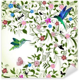 Pixerstick Sticker Bloemen achtergrond met vogel