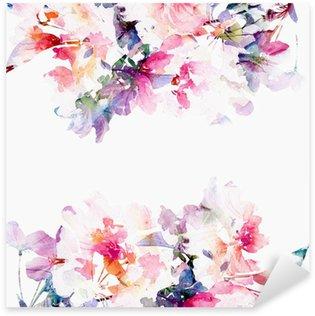 Pixerstick Sticker Bloemen aquarel achtergrond. Rozen.