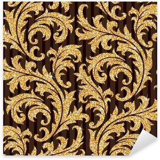 Pixerstick Sticker Bloemen gouden wallpaper