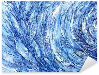 Pixerstick for All Surfaces blue feathers in a circle, watercolor abstract background