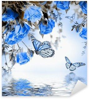 Pixerstick Sticker Boeket van delicate rozen en vlinder, bloemen achtergrond