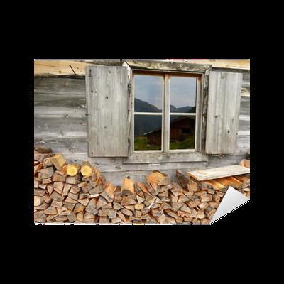 sticker bois de chauffage la cabane avec fen tre pixers nous vivons pour changer. Black Bedroom Furniture Sets. Home Design Ideas