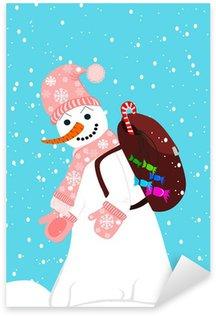 Sticker Pixerstick Bonhomme de neige
