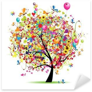 Sticker Pixerstick Bonnes vacances, arbre drôle avec des ballons