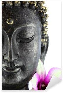 Sticker Pixerstick Bouddha sur fond blanc et fleur d'orchidée