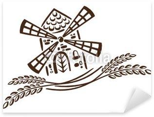 Sticker Pixerstick Boulangerie, pain, farine, céréales, moudre le grain, vecteur