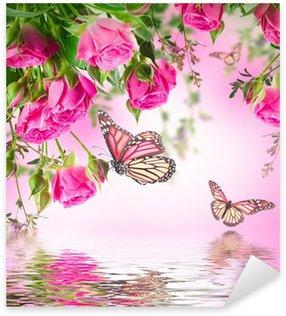 Sticker Pixerstick Bouquet de roses délicats et papillon, fond floral