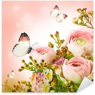 Sticker Pixerstick Bouquet doux de roses rose et le papillon