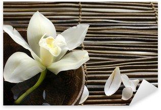 bowl of orchid, petal on bamboo mat Sticker - Pixerstick