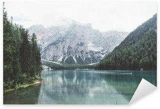 Braies lake with green water and mountains with trees Sticker - Pixerstick