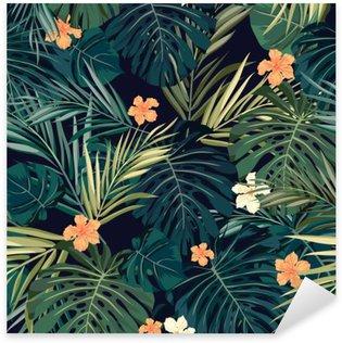 Sticker Pixerstick Bright fond transparent tropical coloré avec des feuilles et