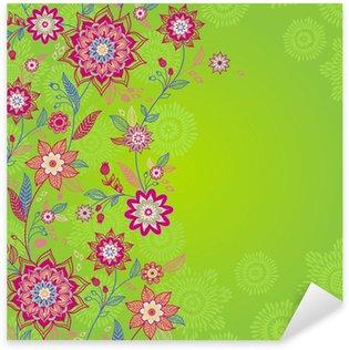 Sticker Pixerstick Bright printemps frontière transparente avec des fleurs